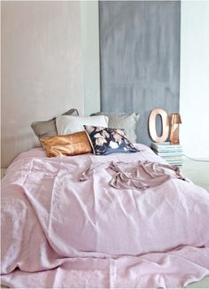 dusty pastels and copper accents