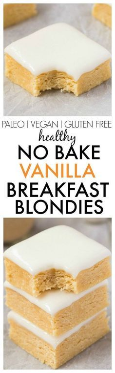 Healthy No Bake Vanilla BREAKFAST Blondies- Thick, slightly chewy and soft blondies designed for breakfast! NO butter, oil, flour or sugar, and perfect for dessert or a snack! {vegan, gluten free, paleo recipe}- http://thebigmansworld.com http://healthyquickly.com/5-essential-healthy-breakfast-tips-for-easy-fat-burning/