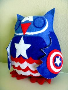 Avengers Captain America Owl Plush by CharacterCove on Etsy! So cute! Great gift for the geek in your life :)