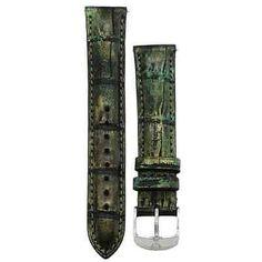 Michele 16mm Olive Night genuine alligator strap MS16AA510317 Deco 16