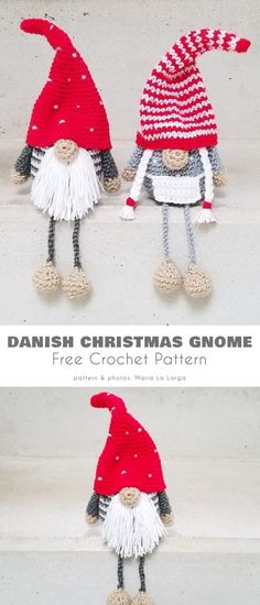 Christmas gnomes are wonderfully easy to make, a roughly spherical body and a conical hat make up most of the gnome. Crochet Pour Halloween, Halloween Crochet Patterns, Crochet Snowflake Pattern, Crochet Crafts, Crochet Toys, Free Crochet, Crochet Christmas Ornaments, Christmas Gnome, Yarn Projects