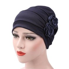 Womens New Side Paste Large Flower Solid Beanies Cap Casual Luxury Cotton Outdoor Bonnet Hat