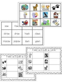 au & aw words sorts & centers