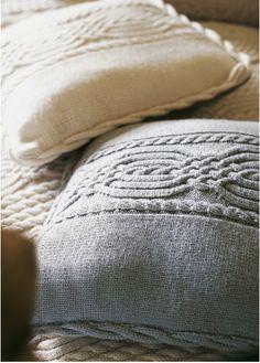 Free knitting pattern - Cosy Cable Cushion in Rowan Cashsoft DK: http://www.mcadirect.com/shop/rowan-cashsoft-dk-p-292.html