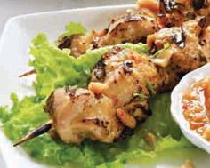 Grilled Chicken Satays with Late Harvest Peach Dipping Sauce Chicken Satay, Grilled Chicken, I Grill, Grilling, Peach Sauce, Turkey Recipes, Starters, Poultry, Great Recipes