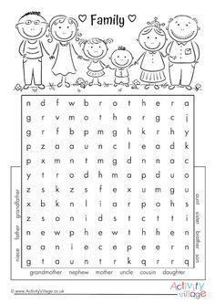 word search - Family word search -Family word search - Family word search - Complete the crossword English Activities For Kids, English Worksheets For Kindergarten, English Lessons For Kids, Kids English, School Worksheets, Learn English Words, French Lessons, Spanish Lessons, English Language Learning