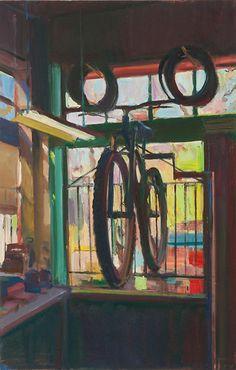 "My big win @ the Crocker Art Auction - Boyd Gavin, ""Bike Repair"", oil on canvas European Paintings, Art Auction, All The Colors, Oil On Canvas, Contemporary Art, Art Gallery, Bike, Sculpture, Drawings"
