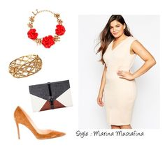 """""""Coctail evening look 05"""" by imagemaker-mustafina ❤ liked on Polyvore featuring ASOS Curve, Little Liffner, Christian Louboutin, Oscar de la Renta, NewYears, dress, cocktail, evening and newyear"""
