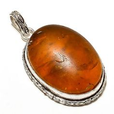 925 Silver Overlay Handmade Amber Ovel Shape Designer Pendant Jewelry