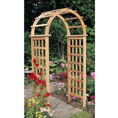 Arboria Beautifully frame the entry to your yard or garden with the Arboria Victoria Cedar Arbor. The graceful top arch, slender silhouette, and gridded side panels of this unit are certainly fit for