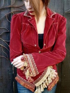 Upcycled Red Cotton Velvet Jacket, Steampunk, Holiday Jacket, Bohemian, Victorian Style Steampunk Clothing, Recycled, Haute Couture,OOAK. $195.00, via Etsy. by myrlande_tillman