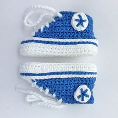 Custom Crochet Baby Converse Shoes by ForLittleFeets on Etsy