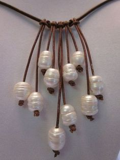 White Freshwater Pearl and Leather Necklace by ARIELSPEARLS, $46.00