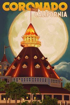 San Diego, California - Hotel Del Coronado and Moon Art Print by Lantern Press… Poster Vintage, Vintage Travel Posters, Vintage Signs, Vintage Ads, Voyage Usa, Coronado Island, Hotel Del Coronado, Coronado Beach, Las Vegas
