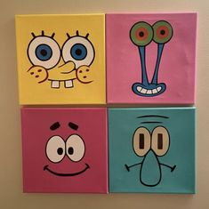 Canvas Painting Designs, Small Canvas Paintings, Small Canvas Art, Cute Paintings, Mini Canvas Art, Diy Canvas, Indie Drawings, Art Drawings Sketches Simple, Spongebob Painting
