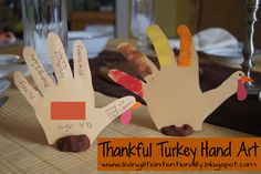 Thankful Turkey Hand Art  {30 Days of Thanksgiving Activities for Kids}   ~   HowToHomeschoolMyChild.com ~ #30DaysOfGratitude