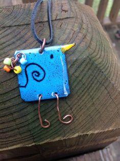 Sgraffito enamel bluebird pendant by HammeredandHeated on Etsy