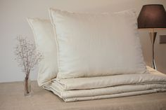 Wedding gift. King size bedding set: all seasons comforter + 2 pillows. Organic wool filled, cotton sateen covered. Great housewarming gift. by LabosNakties on Etsy