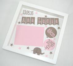"""Dekoration - Indiv. Bilderrahmen """"Elefant rosa"""" - ein Designerstück von My-Schnullerbox bei DaWanda"""