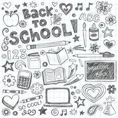 Garabatos dibujados a mano Bienvenido de nuevo a escuela cuaderno incompleto con letras, estrellas fugaces, corazones y la ilustración vectorial remolinos elementos de diseño sobre cuaderno forrado de papel