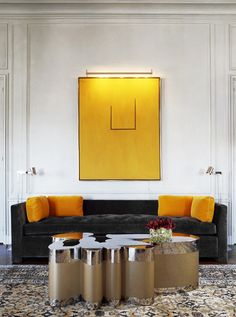 Yellow art above the sofa. #Decor #Style
