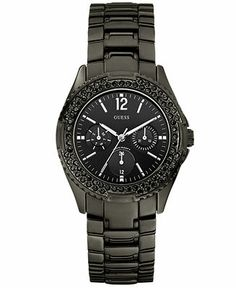 GUESS Watch, Women's Black Ion Plated Mixed Metal Bracelet 36mm U13007L1 - Women's Watches - Jewelry & Watches - Macy's