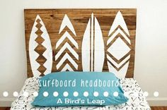 Surfboard Headboard / Wall Art for our guest room. Recycled Furniture, Diy Furniture, Painting Furniture, Surf Bedroom, Bedroom Themes, Bedroom Ideas, Diy Bedroom, Bedroom Stuff, Girls Bedroom