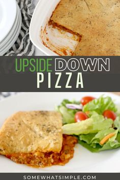 Upside down pizza is a simple weeknight dinner that tastes delicious! All your favorite pizza toppings covered in a delicious crust baked to golden perfection! Best Dinner Recipes, Lunch Recipes, Upside Down Pizza, Creamy Pasta Bake, Non Sandwich Lunches, Deep Dish Pizza Recipe, Healthy Baked Chicken, Healthy Weeknight Meals, Quick Easy Dinner