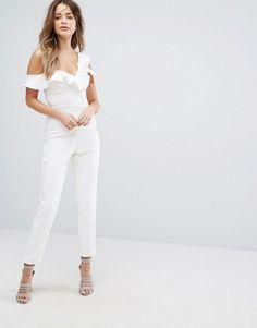 Lavish Alice Asymmetric Frill Jumpsuit - White