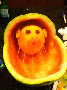 carved watermelon baskets | Leave a Reply Cancel reply Comida Baby Shower, Idee Baby Shower, Shower Bebe, Baby Shower Games, Baby Shower Parties, Baby Boy Shower, Watermelon Baby Carriage, Baby Shower Watermelon, Baby Fruit