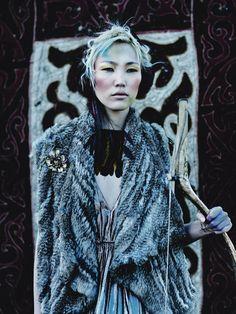 Mongolian models Nora Dagva & Enerel in Harrods Magazine October 2014.
