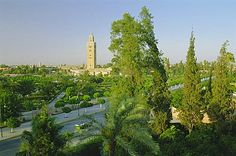 The Koutoubia minaret on the skyline of Marrakech (Marrakesh), Morocco, North Africa, Africa