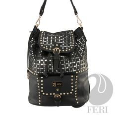 Global Wealth Trade Corporation - FERI Designer Lines Black Backpack, Leather Backpack, Selling On Pinterest, Zipper Pouch, Purse Wallet, Luxury Branding, Fashion Backpack, Studs, Shoulder Bag