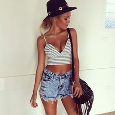 Striped cropped cami top & high waisted cut offs