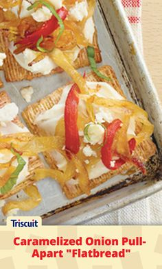 Okay, the caramelized onions take some time, but trust us – they're worth the effort.  Just cook the onions in advance and the rest of the recipe comes together quickly on game day.  With roasted peppers, fresh basil and a mixture of cheeses, this one is worthy of your favorite gourmet restaurant.