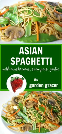 Great warm or cold! 7-ingredient Asian Spaghetti with veggies and garlic soy…