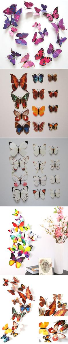 12pcs Plastic 3D Artificial Butterfly with Pin Jewelry for Mosquito Net Curtain Decor Party Wedding Christmas Tree Decoration