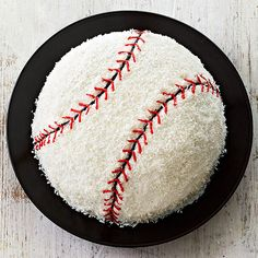 White frosting and flaked coconut team up to decorate this baseball cake that's home run-worthy. First up to bat? The cake mix of your choice. Baseball Birthday Cakes, Baseball Party, 1st Boy Birthday, Birthday Parties, Birthday Ideas, Baseball Cakes, Kid Parties, Sports Party, Baseball Mom
