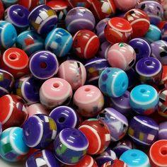 Abalorios de colores, sintéticos,10mm