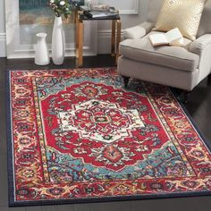 Tsukiji Oriental Bright Red Area Rug Turquoise Rug Area Rugs Traditional Area Rugs
