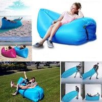 Geek   Outdoor and Indoor Inflatable Lounger Nylon Fabric Beach Lounger Convenient Compression Air Bag Hangout Bean Bag Portable Dream Chair