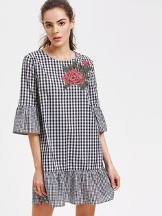 Black Checkered Flower Embroidered 3/4 Sleeve Round Neck Trumpet Sleeve Frill Hem Dress