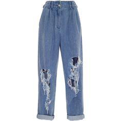 Distressed Boyfriend Jean | Moda Operandi (€730) ❤ liked on Polyvore featuring jeans, balmain, bottoms, ripped boyfriend jeans, distressed jeans, torn boyfriend jeans, boyfriend jeans and blue jeans