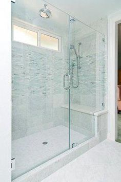 Large walk-in shower big enough for two, with a full bench seat and two shower heads. window in shower Big Shower, Master Bathroom Shower, Small Bathroom With Shower, Window In Shower, Shower Seat, Bathroom Renos, Shower With Bench, Bathroom Ideas, Bathroom Remodeling
