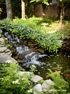Landscape Design by Stafford Fine Gardening, Design Consulting by Kim Brockinton Interiors | Photography by Nancy Nolan | At Home in Arkansas | http://www.athomearkansas.com/article/pleasantly-provincial# #outdoor #garden #waterfall #landscaping