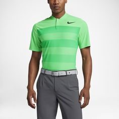 2ca593e13 Nike TW Zonal Cooling Stripe Blade Men's Standard Fit Golf Polo Shirt Size  Medium (Green)