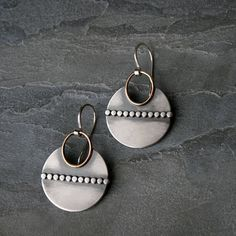 Ancient Artifact Inspired Earrings Mixed Metals Sterling
