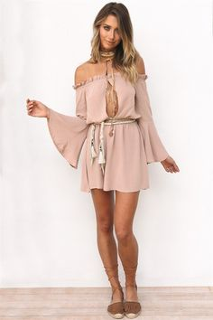 Fit for any occasion, the Frill Shoulder Dress is made from a lightweight fabric in a dusty beige hue and features a small frill on shoulders, elasticated waistband, keyhole cutout at centre bust, flared full length sleeves and a flowy design. Pair with rope waist tie and neutral tie up sandals! Exclusively designed by Sabo Skirt.