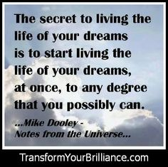 The secret to living the life of your dreams is to start living the life of your dreams, at once, to any degree that you possibly can. Mike Dooley