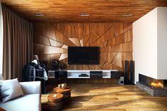 aménagement d'intérieur moderne - petit salon avec panneau mural en bois, faux plafond en bois et parquet